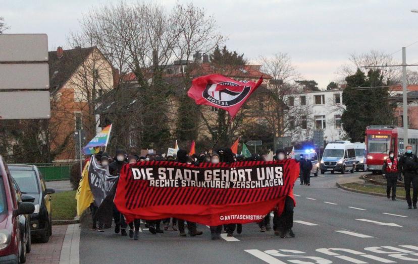 Foto der Antifa-Demo am 23.01 in Braunschweig