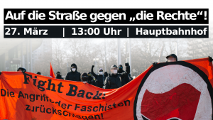 Fightback Transparent. Aufruf zur Kundgebung am 27.3 um 13 Uhr am Hbf in Braunschweig