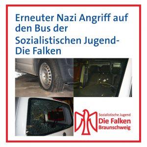 Erneuter Nazi Angriff aug den Bus der Sozialistischen Jugend Die Falken
